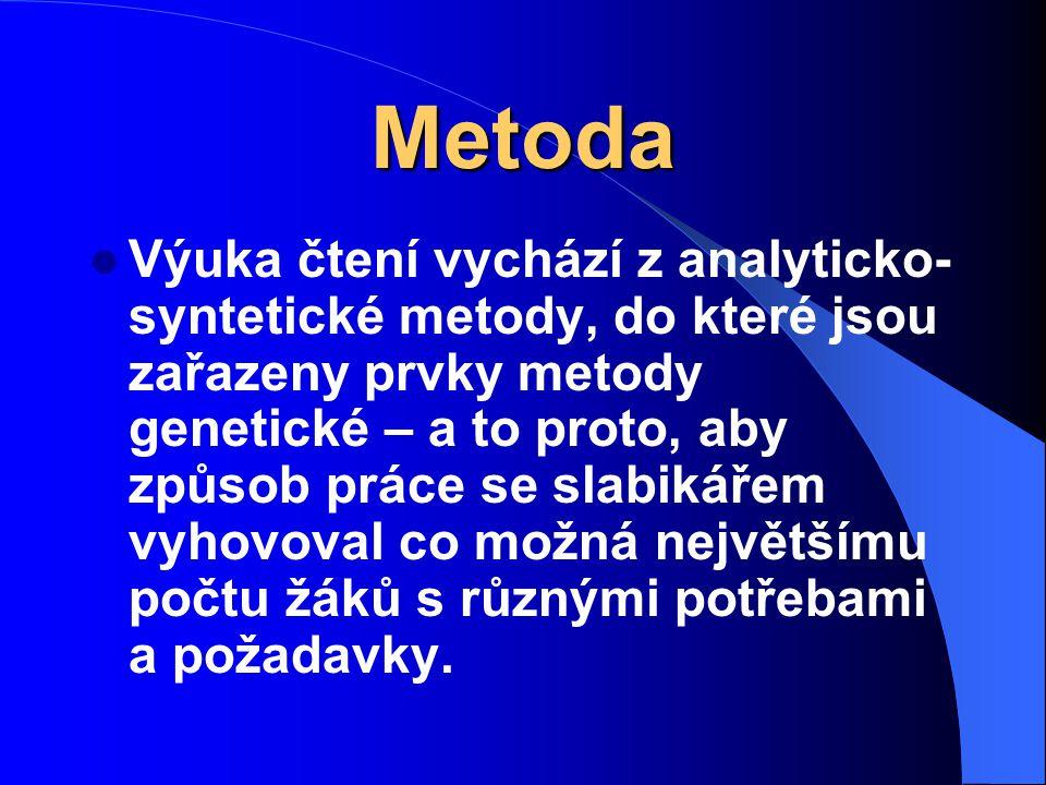 Metoda Výuka čtení vychází z analyticko- syntetické metody, do které jsou zařazeny prvky metody genetické – a to proto, aby způsob práce se slabikářem vyhovoval co možná největšímu počtu žáků s různými potřebami a požadavky.