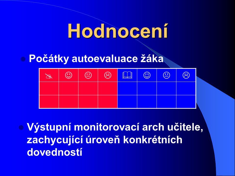 Hodnocení Počátky autoevaluace žáka  Výstupní monitorovací arch učitele, zachycující úroveň konkrétních dovedností