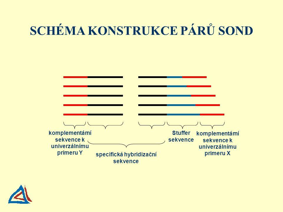 komplementární sekvence k univerzálnímu primeru Y Stuffer sekvence specifická hybridizační sekvence komplementární sekvence k univerzálnímu primeru X SCHÉMA KONSTRUKCE PÁRŮ SOND