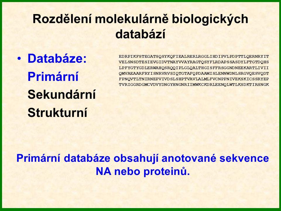Rozdělení molekulárně biologických databází Databáze: Primární Sekundární Strukturní Sekundární databáze obsahují informace odvozené z primárních databází ve formě charakteristických vzorů sekvencí, tj.