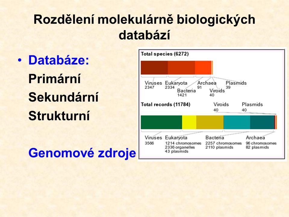 Rozdělení molekulárně biologických databází Databáze: Specializované Univerzální
