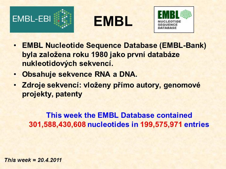 EMBL EMBL Nucleotide Sequence Database (EMBL-Bank) – součást ENA (European Nucleotide Archive).