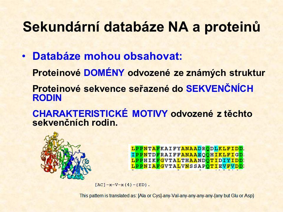 Sekundární proteinové databáze: PROSITE, Pfam, PRINTS, ProDom, SMART, TIGRFAMS V současné době sdruženy do integrované klasifikační databáze proteinů InterPro http://www.ebi.ac.uk/interpro/ Sekundární databáze NA a proteinů