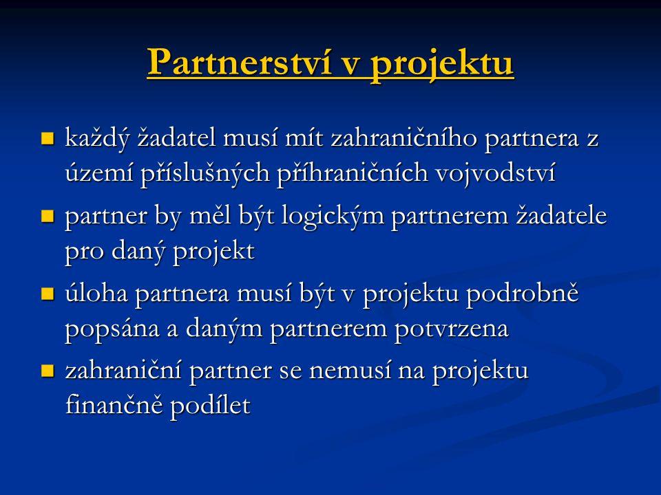 Partnerství v projektu každý žadatel musí mít zahraničního partnera z území příslušných příhraničních vojvodství každý žadatel musí mít zahraničního partnera z území příslušných příhraničních vojvodství partner by měl být logickým partnerem žadatele pro daný projekt partner by měl být logickým partnerem žadatele pro daný projekt úloha partnera musí být v projektu podrobně popsána a daným partnerem potvrzena úloha partnera musí být v projektu podrobně popsána a daným partnerem potvrzena zahraniční partner se nemusí na projektu finančně podílet zahraniční partner se nemusí na projektu finančně podílet
