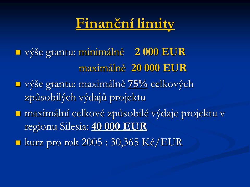 Finanční limity výše grantu: minimálně 2 000 EUR výše grantu: minimálně 2 000 EUR maximálně 20 000 EUR maximálně 20 000 EUR výše grantu: maximálně 75% celkových způsobilých výdajů projektu výše grantu: maximálně 75% celkových způsobilých výdajů projektu maximální celkové způsobilé výdaje projektu v regionu Silesia: 40 000 EUR maximální celkové způsobilé výdaje projektu v regionu Silesia: 40 000 EUR kurz pro rok 2005 : 30,365 Kč/EUR kurz pro rok 2005 : 30,365 Kč/EUR