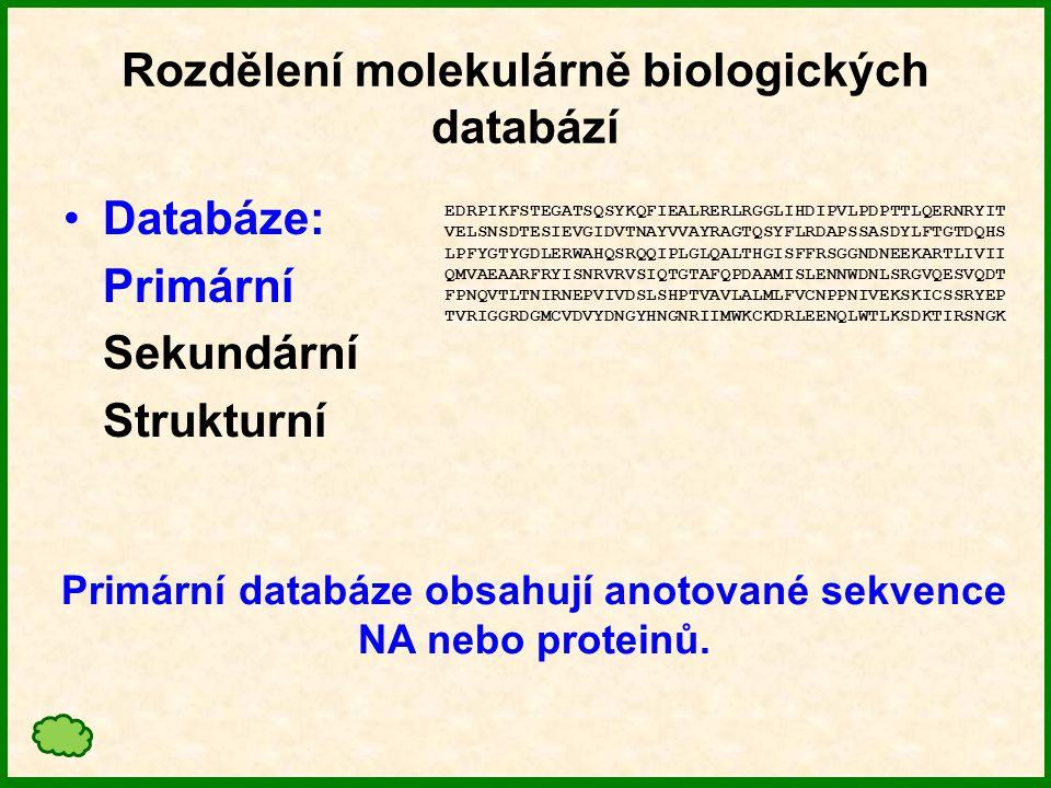 Rozdělení molekulárně biologických databází Databáze: Primární Sekundární Strukturní Primární databáze obsahují anotované sekvence NA nebo proteinů.