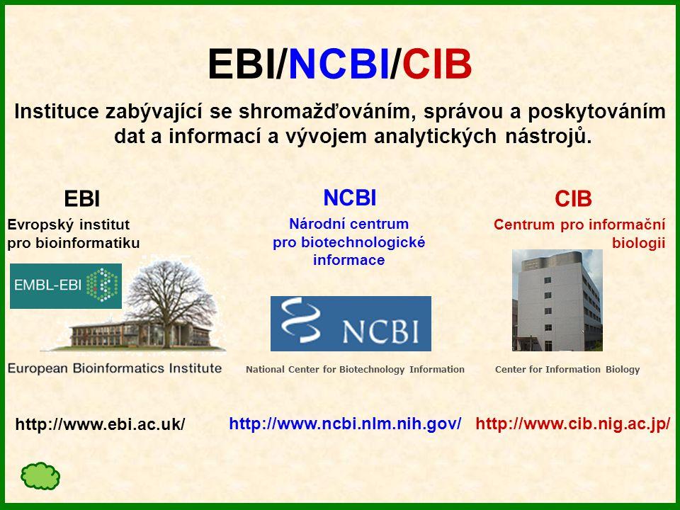 EBI/NCBI/CIB Instituce zabývající se shromažďováním, správou a poskytováním dat a informací a vývojem analytických nástrojů.