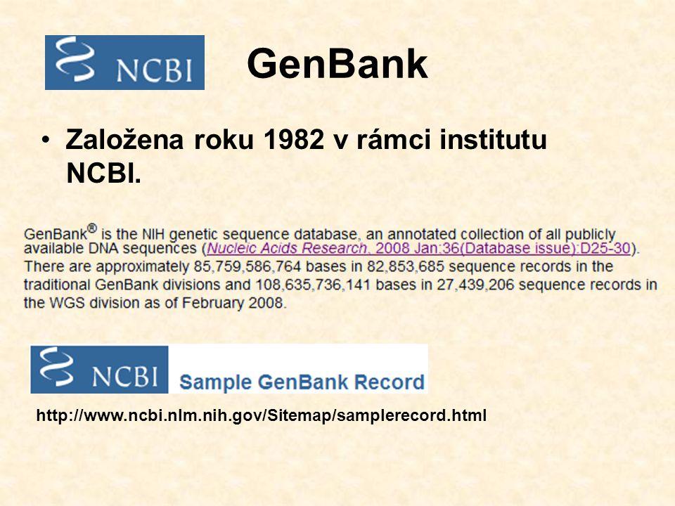 GenBank Založena roku 1982 v rámci institutu NCBI.