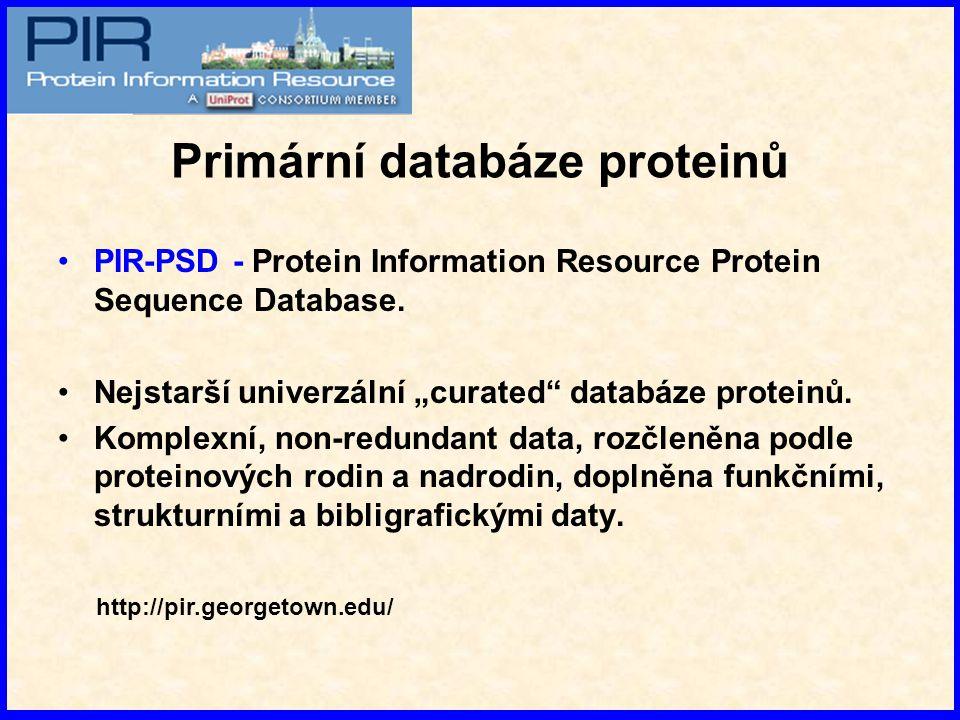 """PIR-PSD - Protein Information Resource Protein Sequence Database. Nejstarší univerzální """"curated"""" databáze proteinů. Komplexní, non-redundant data, ro"""
