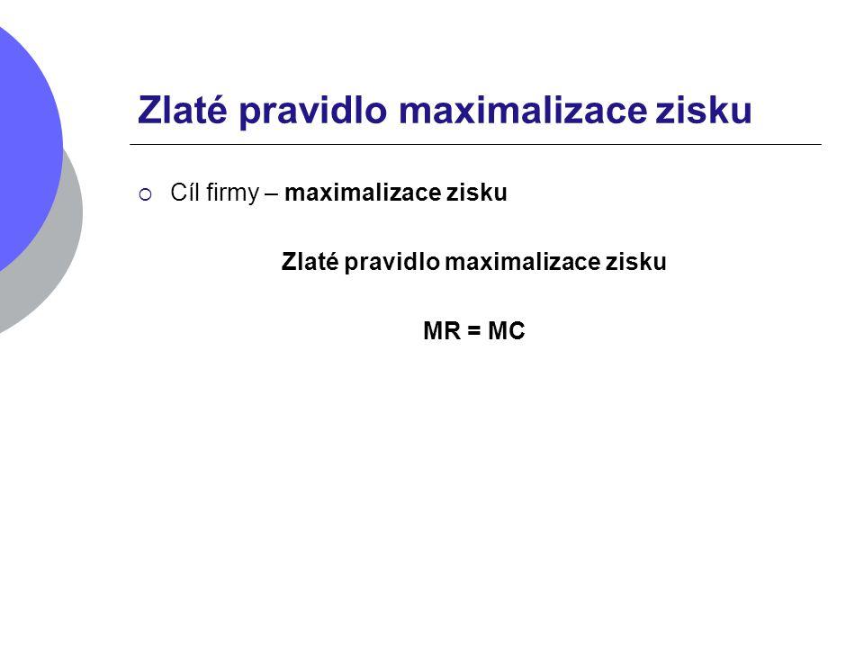 Zlaté pravidlo maximalizace zisku  Cíl firmy – maximalizace zisku Zlaté pravidlo maximalizace zisku MR = MC