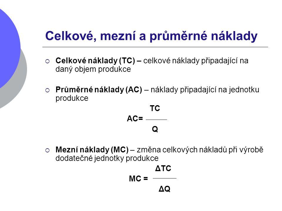 Celkové, mezní a průměrné náklady  Celkové náklady (TC) – celkové náklady připadající na daný objem produkce  Průměrné náklady (AC) – náklady připad