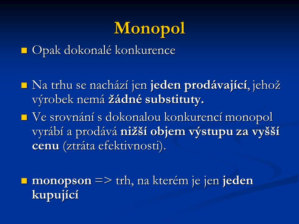 Monopol Opak dokonalé konkurence Opak dokonalé konkurence Na trhu se nachází jen jeden prodávající, jehož výrobek nemá žádné substituty. Na trhu se na