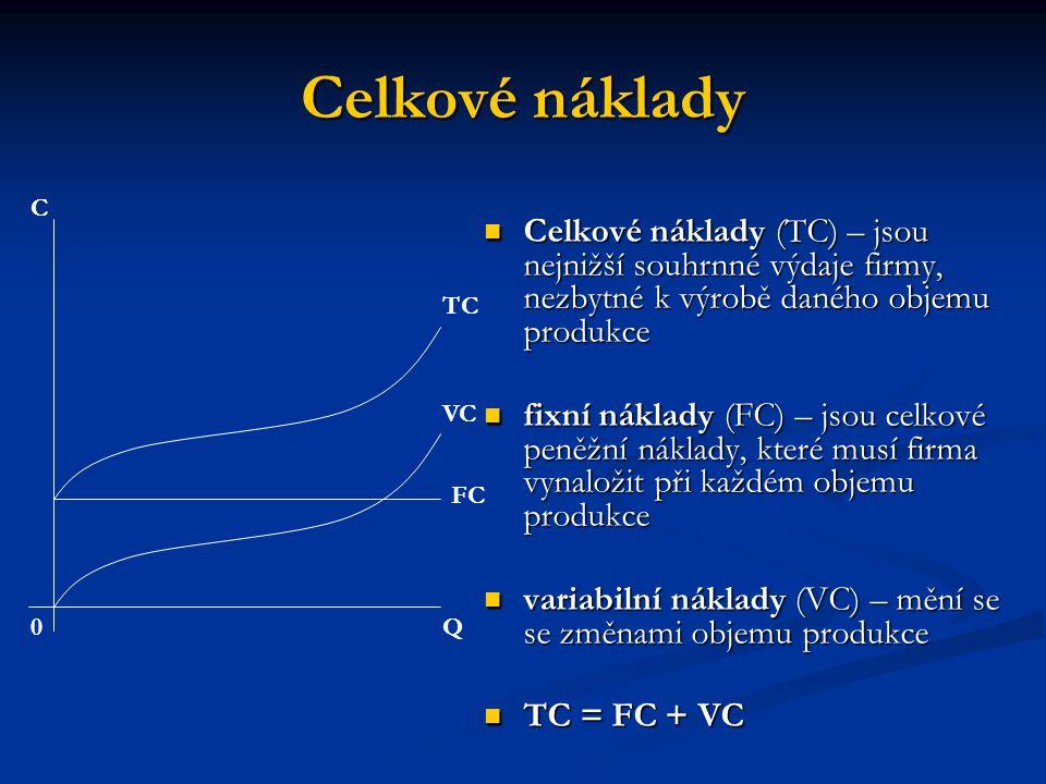 Průměrné a mezní náklady Průměrné náklady (AC) – celkové náklady dělené počtem jednotek produkce – náklady na jednotku výstupu Průměrné náklady (AC) – celkové náklady dělené počtem jednotek produkce – náklady na jednotku výstupu AC = TC / Q AC = TC / Q průměrné fixní náklady (AFC) – fixní náklady dělené počtem jednotek produkce průměrné fixní náklady (AFC) – fixní náklady dělené počtem jednotek produkce průměrné variabilní náklady (AVC) - variabilní náklady dělené počtem vyráběných jednotek průměrné variabilní náklady (AVC) - variabilní náklady dělené počtem vyráběných jednotek AC = AFC + AVC AC = AFC + AVC Mezní náklady (MC) – změna celkových nákladů vyvolaná tím, že firma zvětšila (zmenšila) rozsah vyráběné produkce o jednotku Mezní náklady (MC) – změna celkových nákladů vyvolaná tím, že firma zvětšila (zmenšila) rozsah vyráběné produkce o jednotku MC =  TC /  Q MC =  TC /  Q