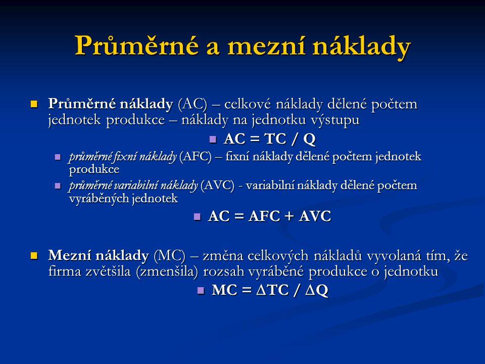 Průměrné a mezní náklady Průměrné náklady (AC) – celkové náklady dělené počtem jednotek produkce – náklady na jednotku výstupu Průměrné náklady (AC) –