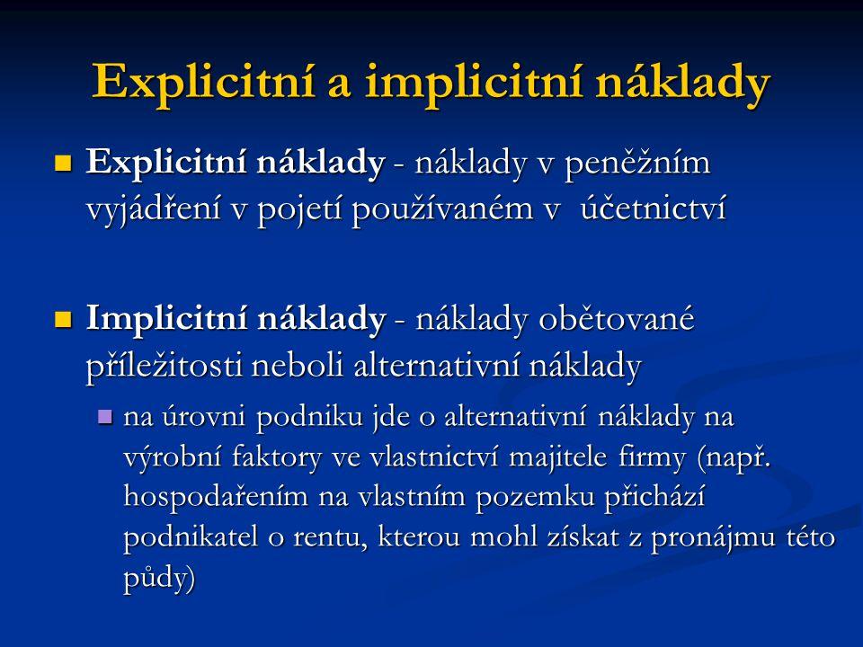 Explicitní a implicitní náklady Explicitní náklady - náklady v peněžním vyjádření v pojetí používaném v účetnictví Explicitní náklady - náklady v peně