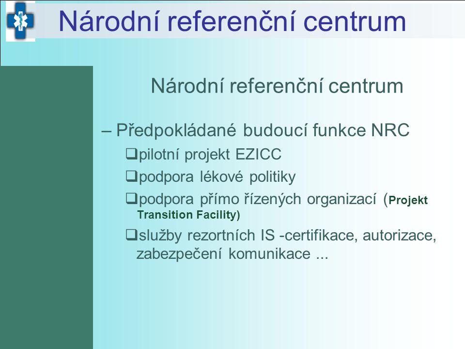 Národní referenční centrum –Předpokládané budoucí funkce NRC  pilotní projekt EZICC  podpora lékové politiky  podpora přímo řízených organizací ( P