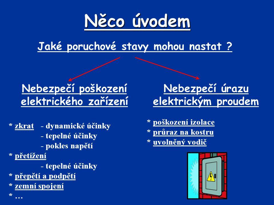 Něco úvodem Nebezpečí poškození elektrického zařízení * zkrat- dynamické účinky - tepelné účinky - pokles napětí * přetížení - tepelné účinky * přepět