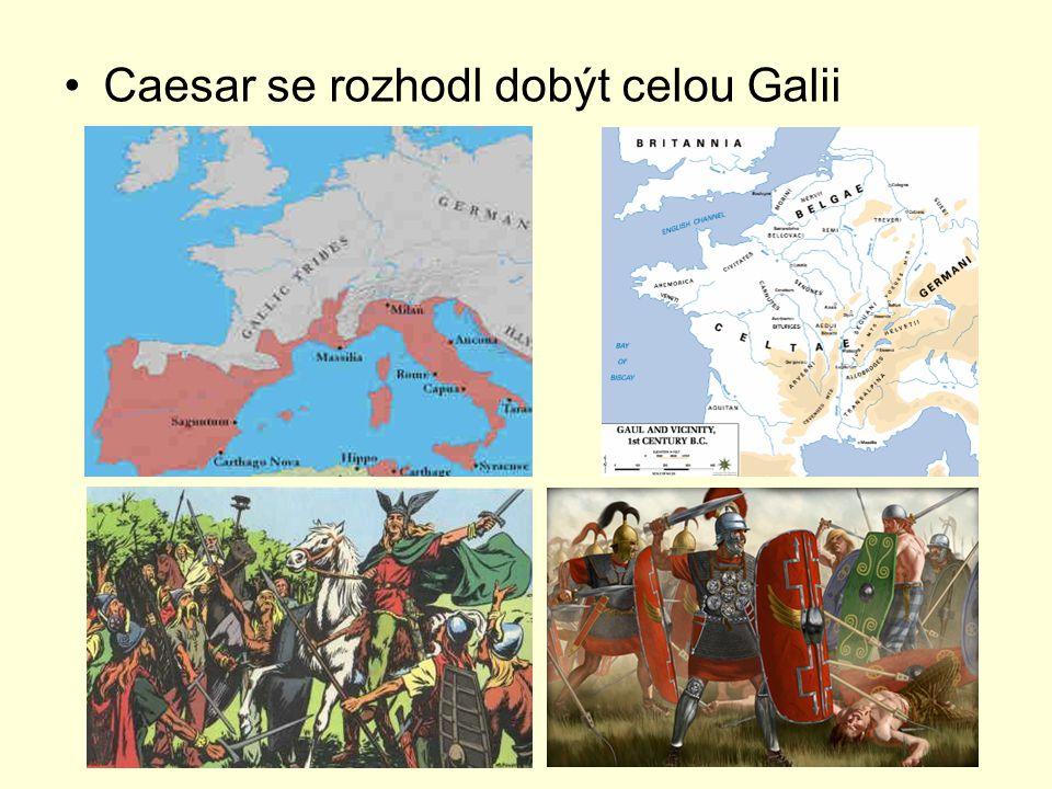 v letech 57 - 56 př.n. l. dobývá Caesar téměř celou Galii r.