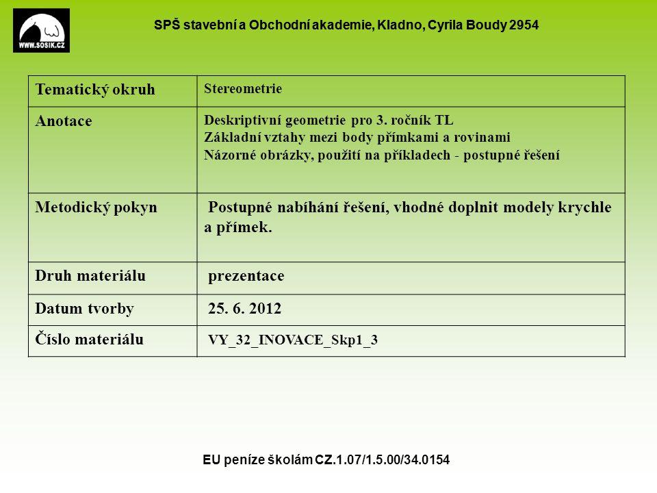 SPŠ stavební a Obchodní akademie, Kladno, Cyrila Boudy 2954 EU peníze školám CZ.1.07/1.5.00/34.0154 Tematický okruh Stereometrie Anotace Deskriptivní geometrie pro 3.