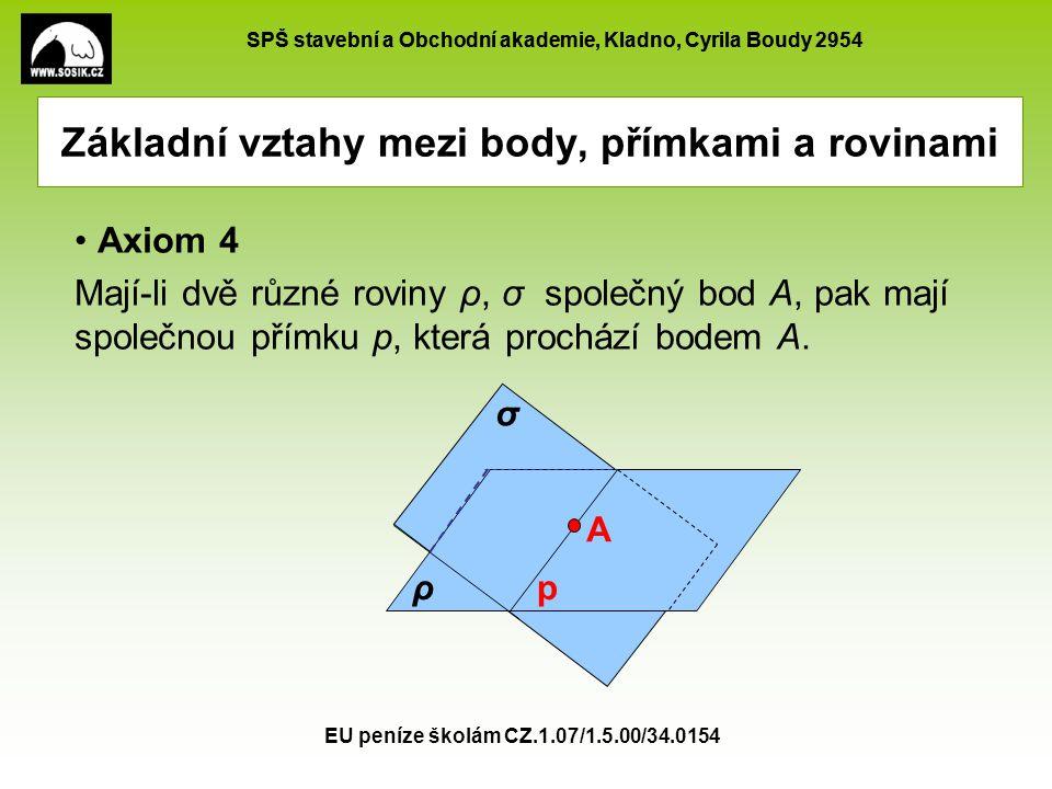 SPŠ stavební a Obchodní akademie, Kladno, Cyrila Boudy 2954 EU peníze školám CZ.1.07/1.5.00/34.0154 A Základní vztahy mezi body, přímkami a rovinami A