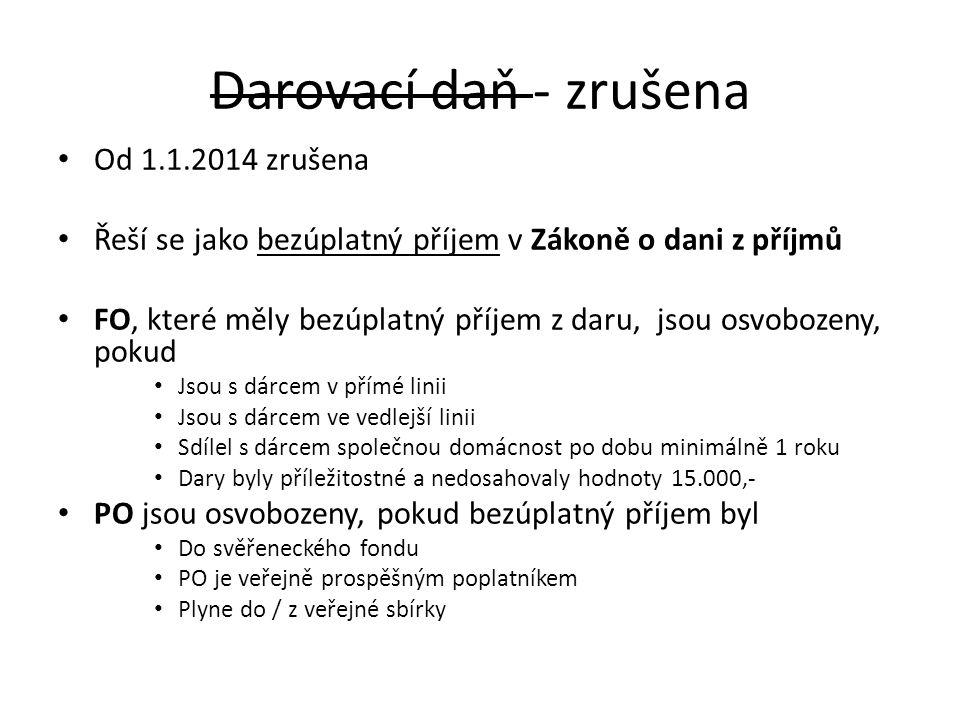 Darovací daň - zrušena Od 1.1.2014 zrušena Řeší se jako bezúplatný příjem v Zákoně o dani z příjmů FO, které měly bezúplatný příjem z daru, jsou osvob