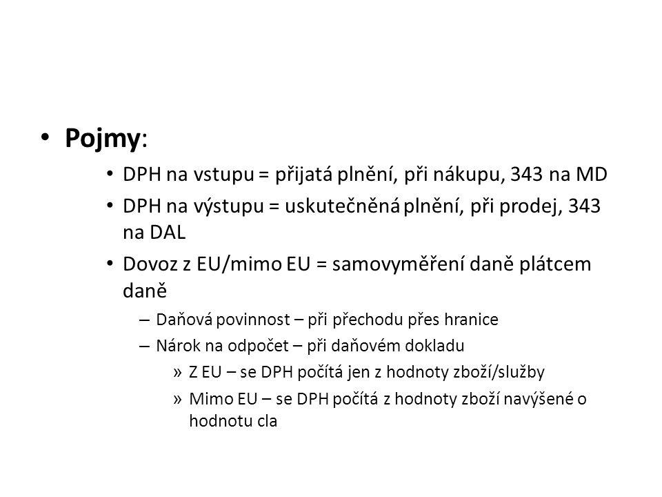 Pojmy: DPH na vstupu = přijatá plnění, při nákupu, 343 na MD DPH na výstupu = uskutečněná plnění, při prodej, 343 na DAL Dovoz z EU/mimo EU = samovymě