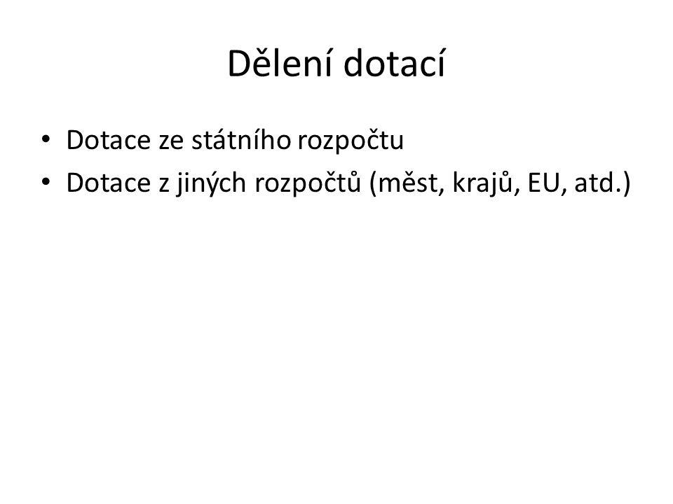 Dělení dotací Dotace ze státního rozpočtu Dotace z jiných rozpočtů (měst, krajů, EU, atd.)