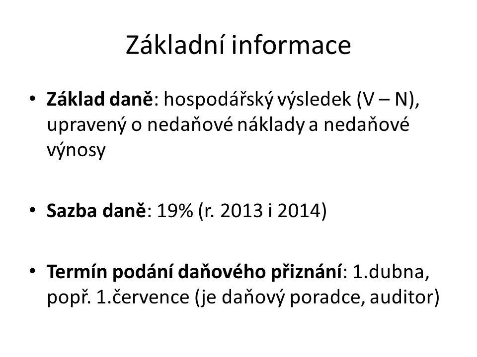 Základní informace Základ daně: hospodářský výsledek (V – N), upravený o nedaňové náklady a nedaňové výnosy Sazba daně: 19% (r. 2013 i 2014) Termín po