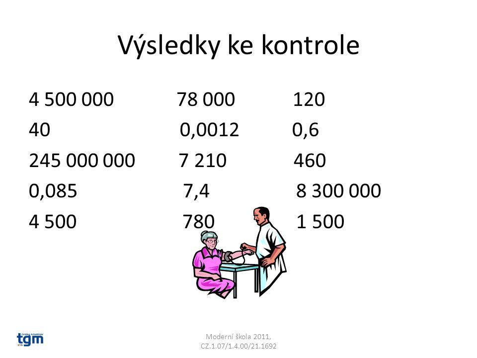 Výsledky ke kontrole 4 500 000 78 000 120 40 0,0012 0,6 245 000 000 7 210 460 0,085 7,4 8 300 000 4 500 780 1 500 Moderní škola 2011, CZ.1.07/1.4.00/2