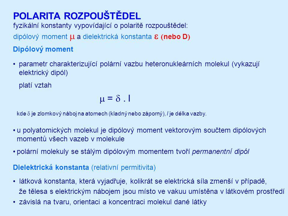 fyzikální konstanty vypovídající o polaritě rozpouštědel: dipólový moment   a dielektrická konstanta   nebo D  POLARITA ROZPOUŠTĚDEL parametr ch