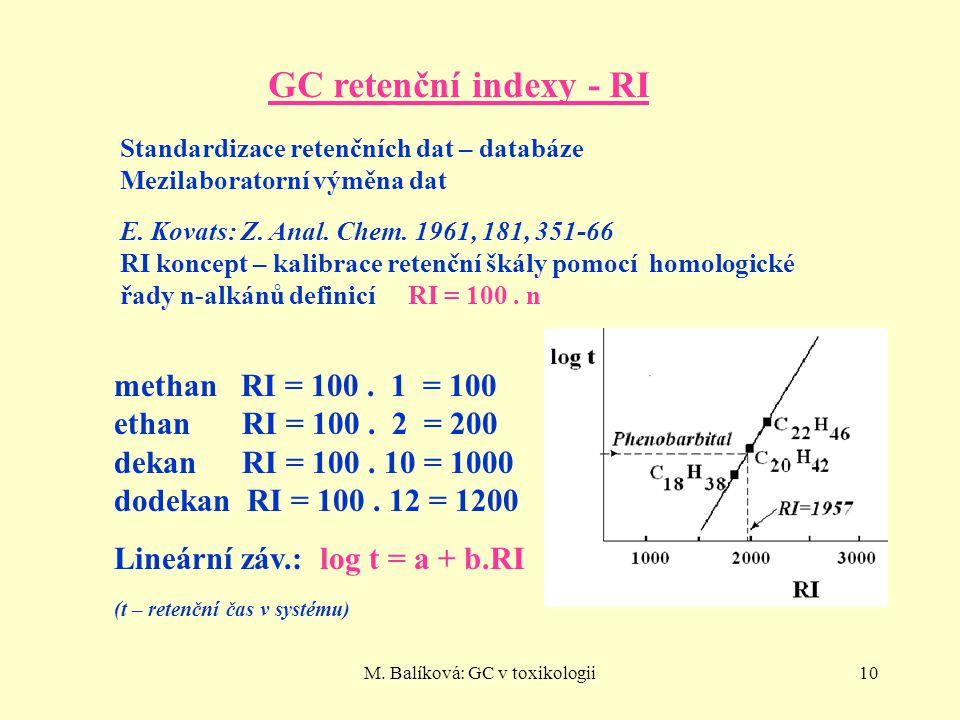 M. Balíková: GC v toxikologii10 GC retenční indexy - RI Standardizace retenčních dat – databáze Mezilaboratorní výměna dat E. Kovats: Z. Anal. Chem. 1
