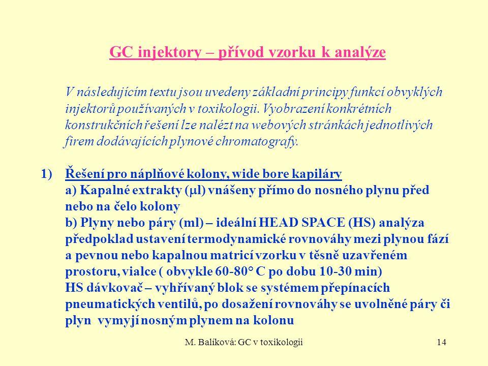 M. Balíková: GC v toxikologii14 GC injektory – přívod vzorku k analýze V následujícím textu jsou uvedeny základní principy funkcí obvyklých injektorů