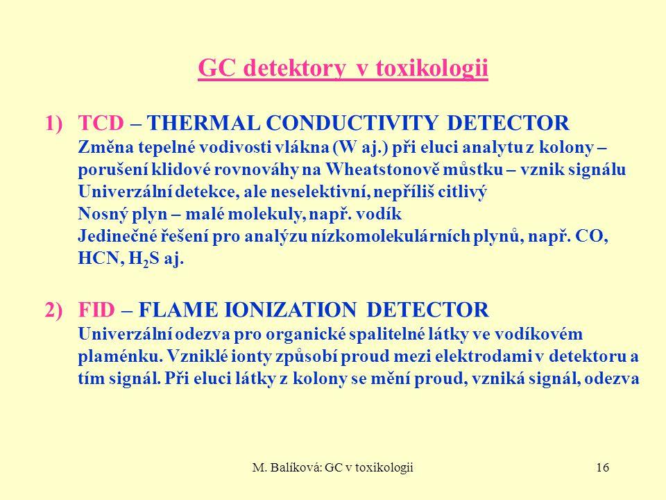 M. Balíková: GC v toxikologii16 GC detektory v toxikologii 1)TCD – THERMAL CONDUCTIVITY DETECTOR Změna tepelné vodivosti vlákna (W aj.) při eluci anal