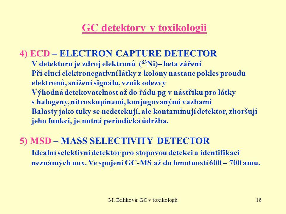 M. Balíková: GC v toxikologii18 GC detektory v toxikologii 4) ECD – ELECTRON CAPTURE DETECTOR V detektoru je zdroj elektronů ( 63 Ni)– beta záření Při