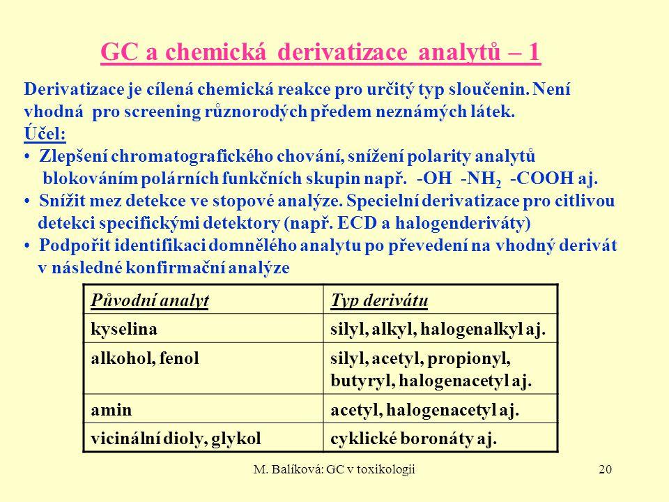 M. Balíková: GC v toxikologii20 GC a chemická derivatizace analytů – 1 Derivatizace je cílená chemická reakce pro určitý typ sloučenin. Není vhodná pr