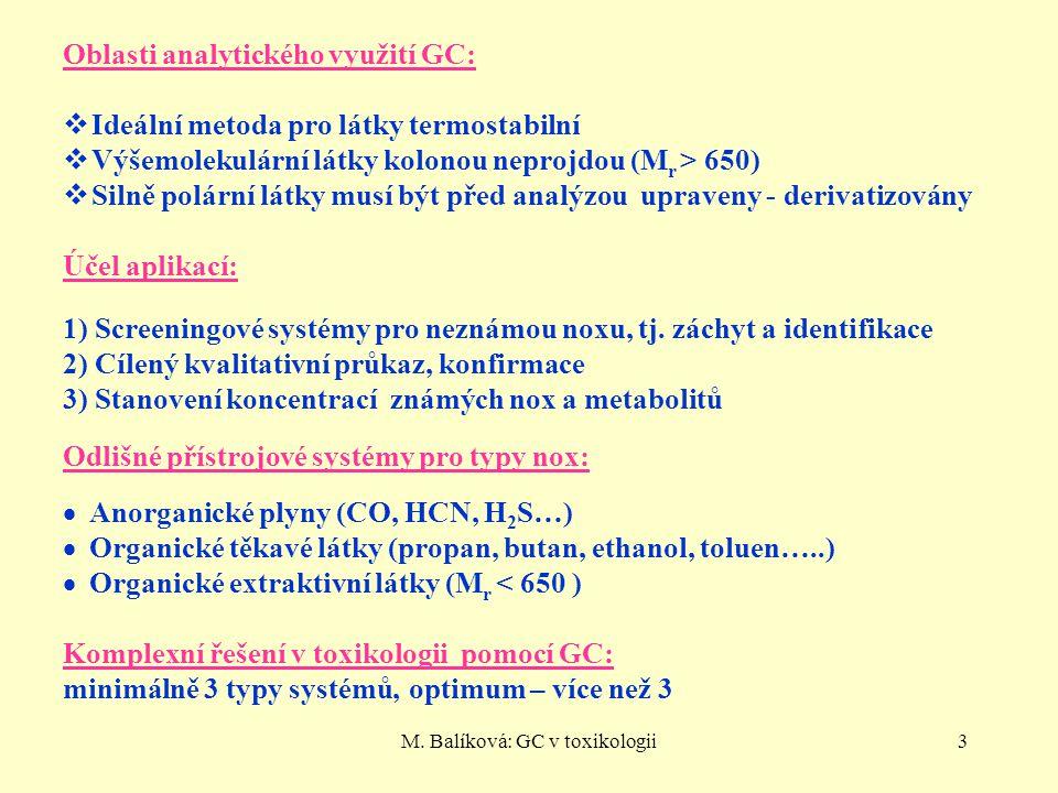 3 PLYNOVÁ CHROMATOGRAFIE Oblasti analytického využití GC:  Ideální metoda pro látky termostabilní  Výšemolekulární látky kolonou neprojdou (M r > 65