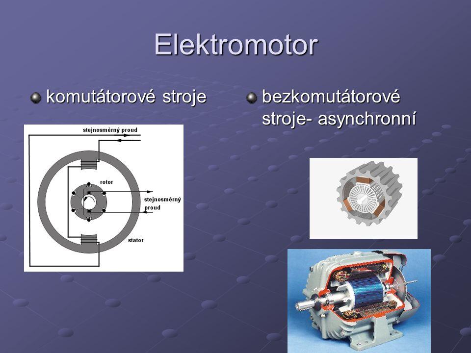 Elektromotor komutátorové stroje bezkomutátorové stroje- asynchronní