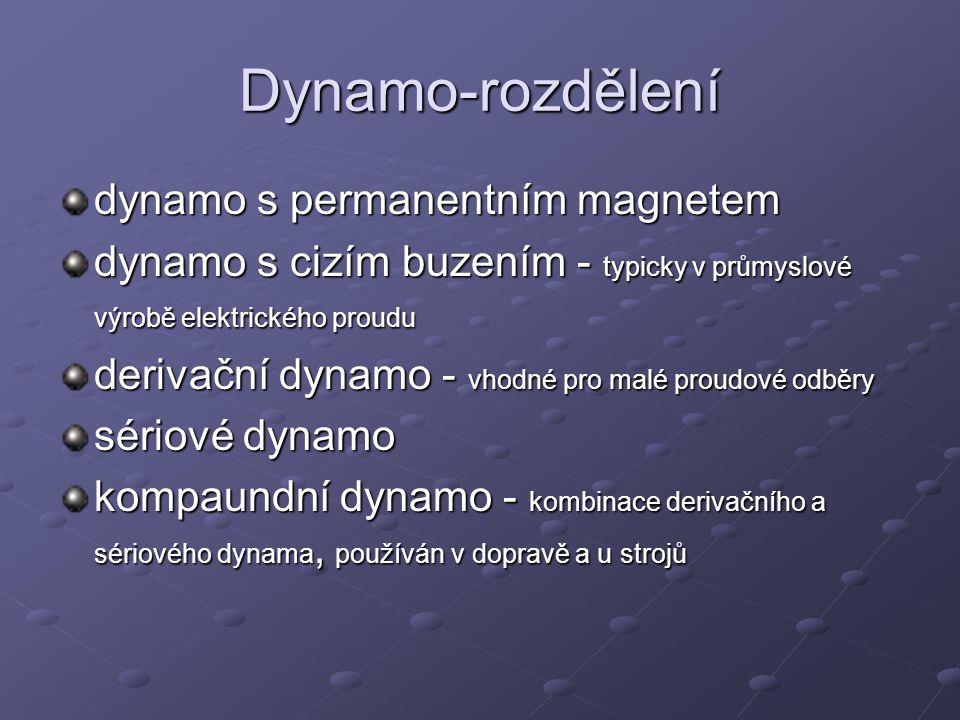 Dynamo-rozdělení dynamo s permanentním magnetem dynamo s cizím buzením - typicky v průmyslové výrobě elektrického proudu derivační dynamo - vhodné pro
