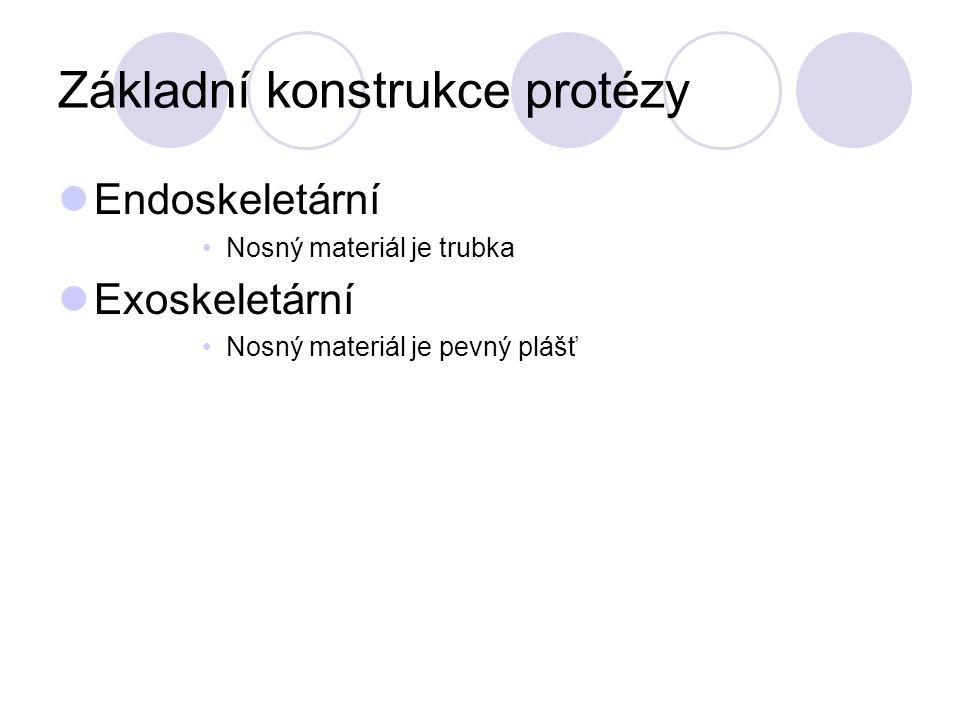 Základní konstrukce protézy Endoskeletární Nosný materiál je trubka Exoskeletární Nosný materiál je pevný plášť