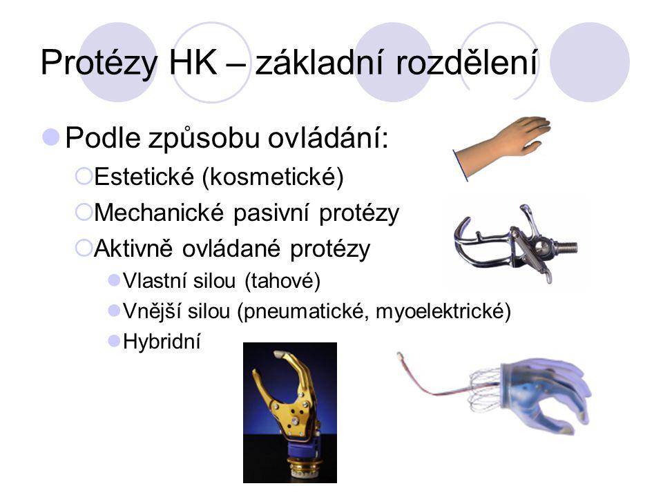 Protézy HK – základní rozdělení Podle způsobu ovládání:  Estetické (kosmetické)  Mechanické pasivní protézy  Aktivně ovládané protézy Vlastní silou (tahové) Vnější silou (pneumatické, myoelektrické) Hybridní