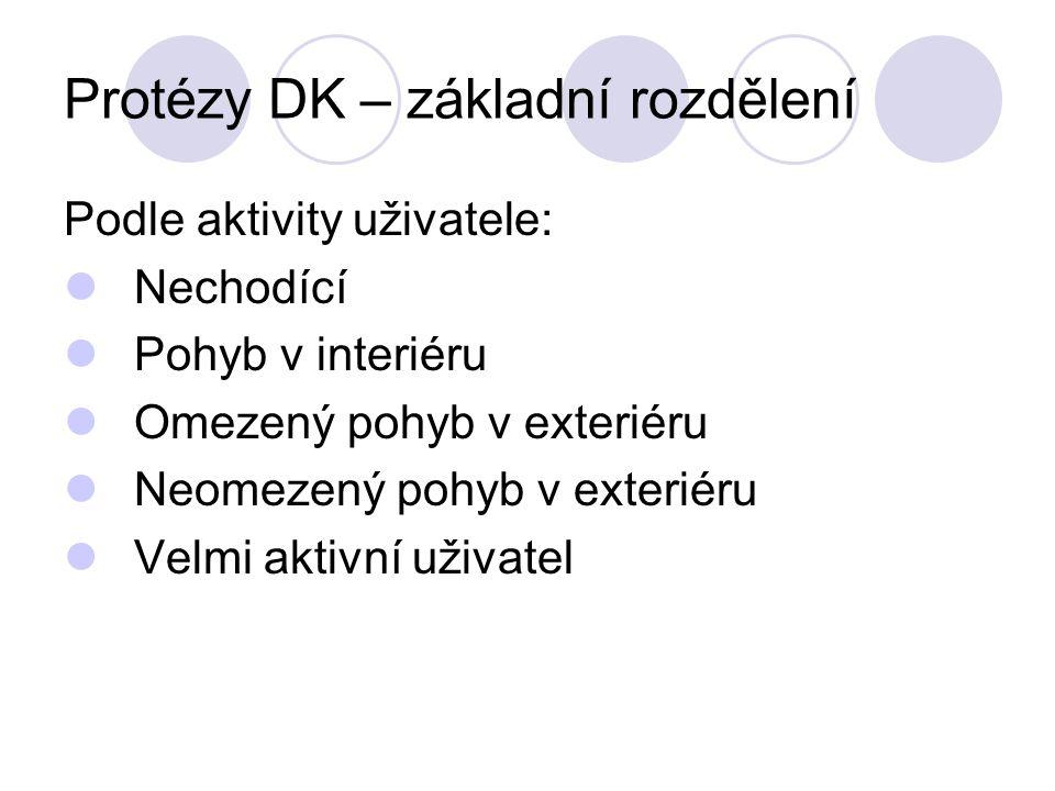 Protézy DK – základní rozdělení Podle aktivity uživatele: Nechodící Pohyb v interiéru Omezený pohyb v exteriéru Neomezený pohyb v exteriéru Velmi aktivní uživatel