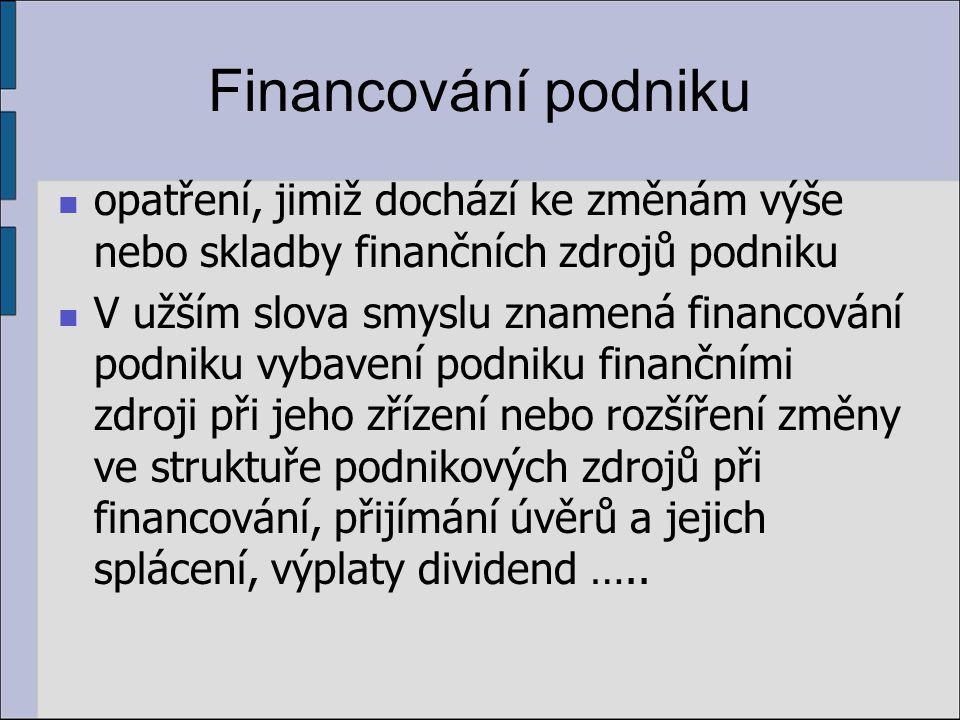 Financování podniku opatření, jimiž dochází ke změnám výše nebo skladby finančních zdrojů podniku V užším slova smyslu znamená financování podniku vybavení podniku finančními zdroji při jeho zřízení nebo rozšíření změny ve struktuře podnikových zdrojů při financování, přijímání úvěrů a jejich splácení, výplaty dividend …..