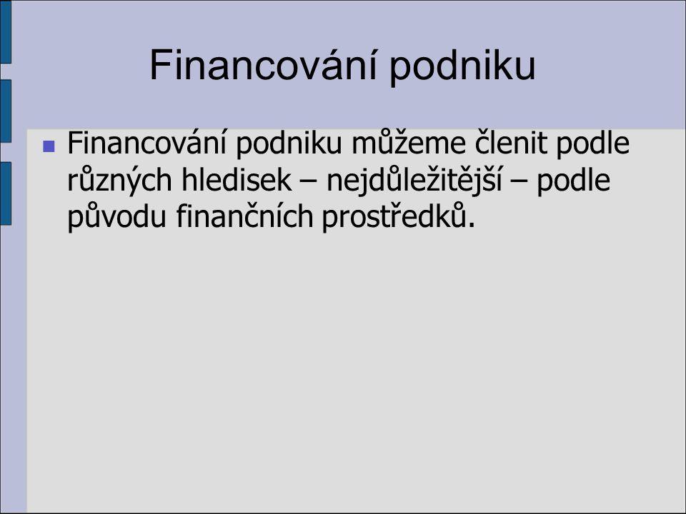 Financování podniku Financování podniku můžeme členit podle různých hledisek – nejdůležitější – podle původu finančních prostředků.