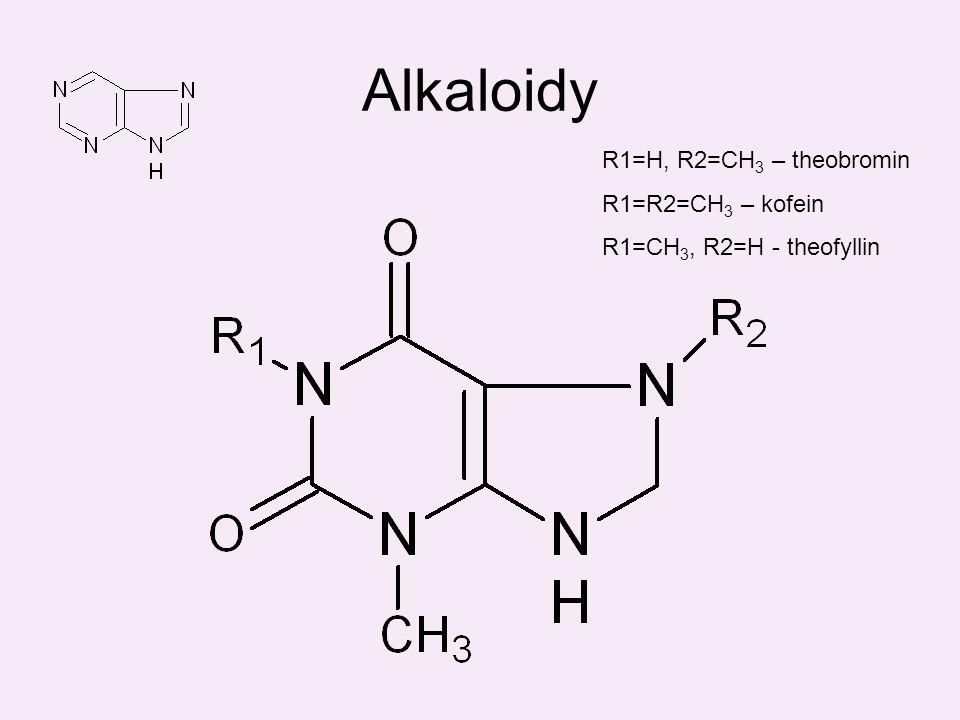 Alkaloidy R1=H, R2=CH 3 – theobromin R1=R2=CH 3 – kofein R1=CH 3, R2=H - theofyllin