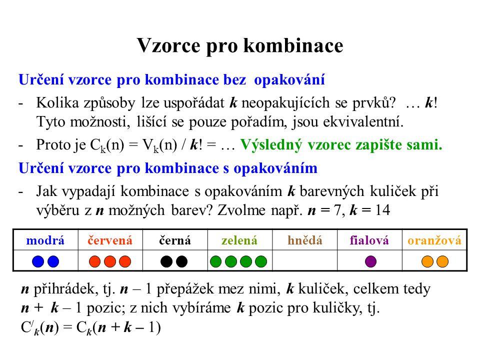 Vzorce pro kombinace Určení vzorce pro kombinace bez opakování -Kolika způsoby lze uspořádat k neopakujících se prvků? … k! Tyto možnosti, lišící se p