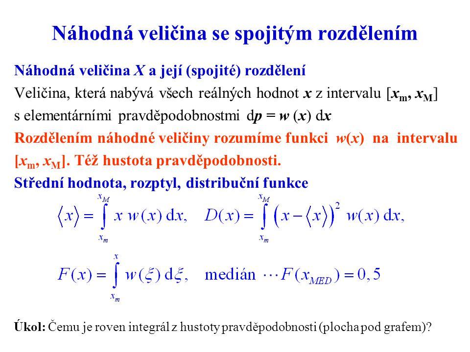 Náhodná veličina se spojitým rozdělením Náhodná veličina X a její (spojité) rozdělení Veličina, která nabývá všech reálných hodnot x z intervalu [x m,