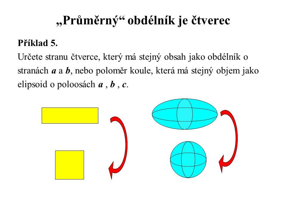 """""""Průměrný"""" obdélník je čtverec Příklad 5. Určete stranu čtverce, který má stejný obsah jako obdélník o stranách a a b, nebo poloměr koule, která má st"""