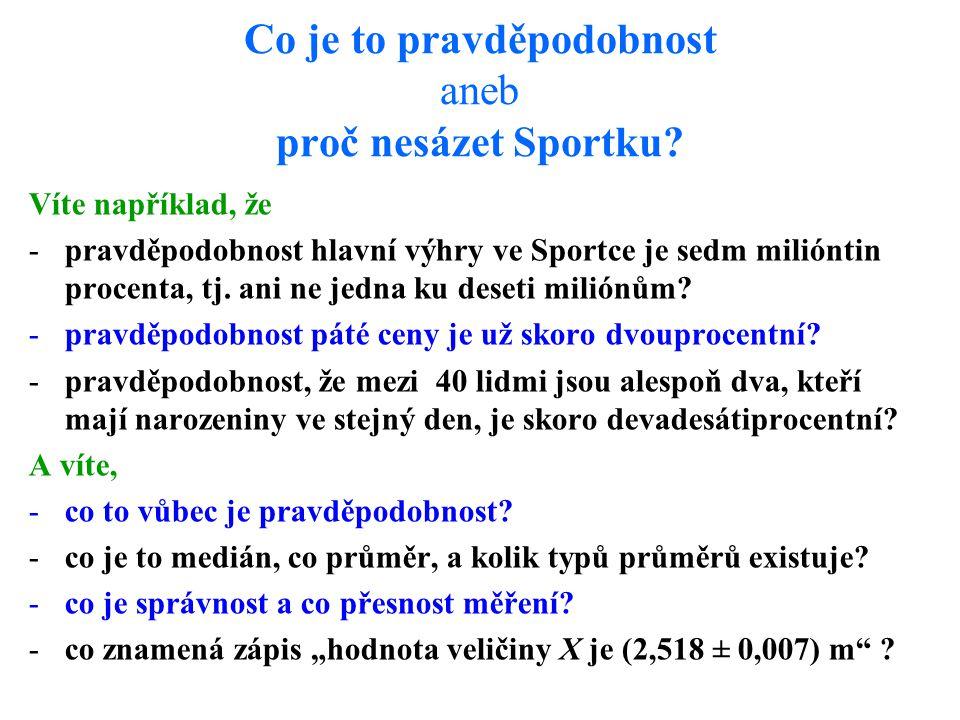 Co je to pravděpodobnost aneb proč nesázet Sportku? Víte například, že -pravděpodobnost hlavní výhry ve Sportce je sedm milióntin procenta, tj. ani ne