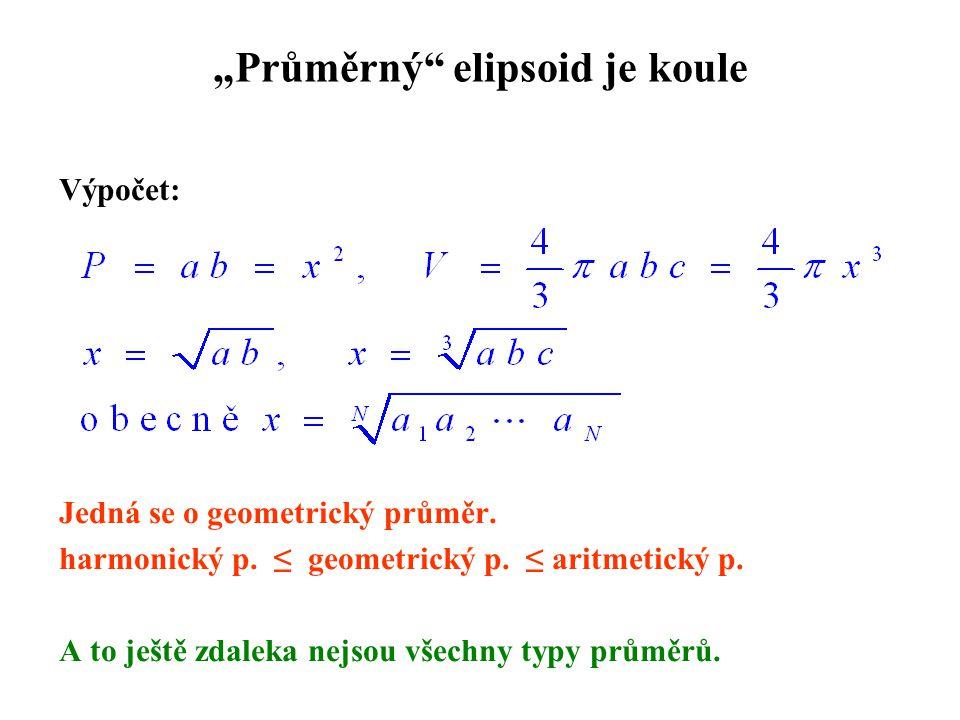 """""""Průměrný"""" elipsoid je koule Výpočet: Jedná se o geometrický průměr. harmonický p. ≤ geometrický p. ≤ aritmetický p. A to ještě zdaleka nejsou všechny"""