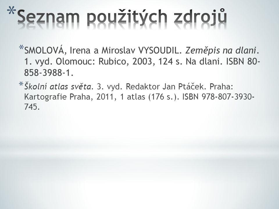* SMOLOVÁ, Irena a Miroslav VYSOUDIL. Zeměpis na dlani. 1. vyd. Olomouc: Rubico, 2003, 124 s. Na dlani. ISBN 80- 858-3988-1. * Školní atlas světa. 3.
